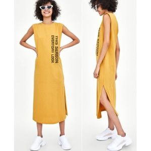 Zara Yellow Dress with Slogan Everyday Look NWT